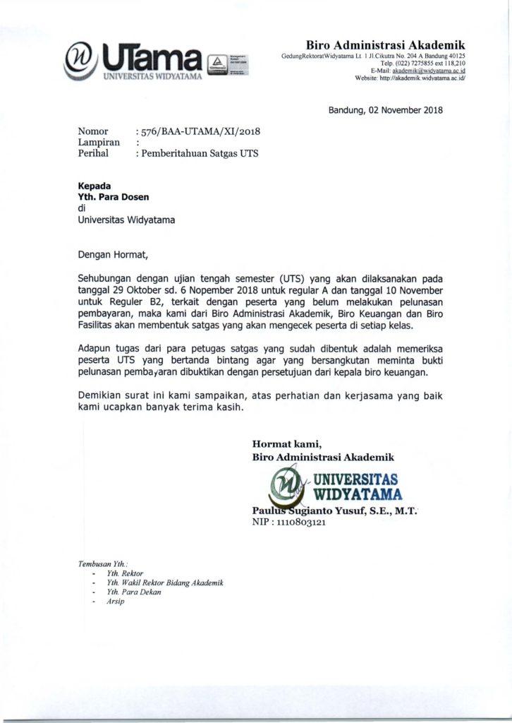Pemberitahuan Satgas UTS Ganjil TA 2018-2019