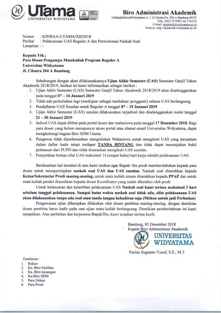 Surat Pelaksanaan Uas Reguler A Dan Permohonan Naskah Soal