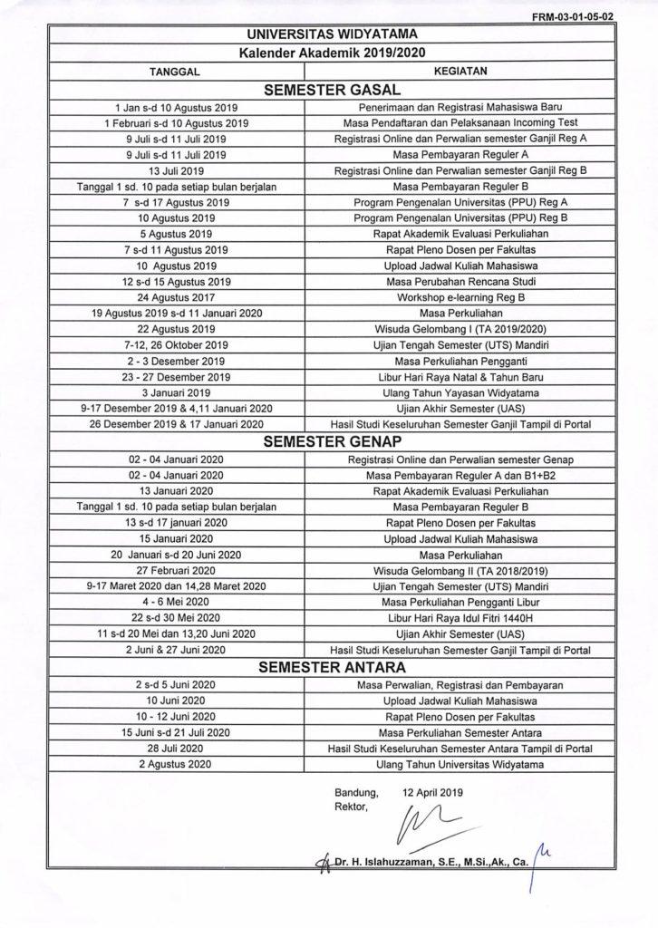 Kalender Akademik 2019-2020