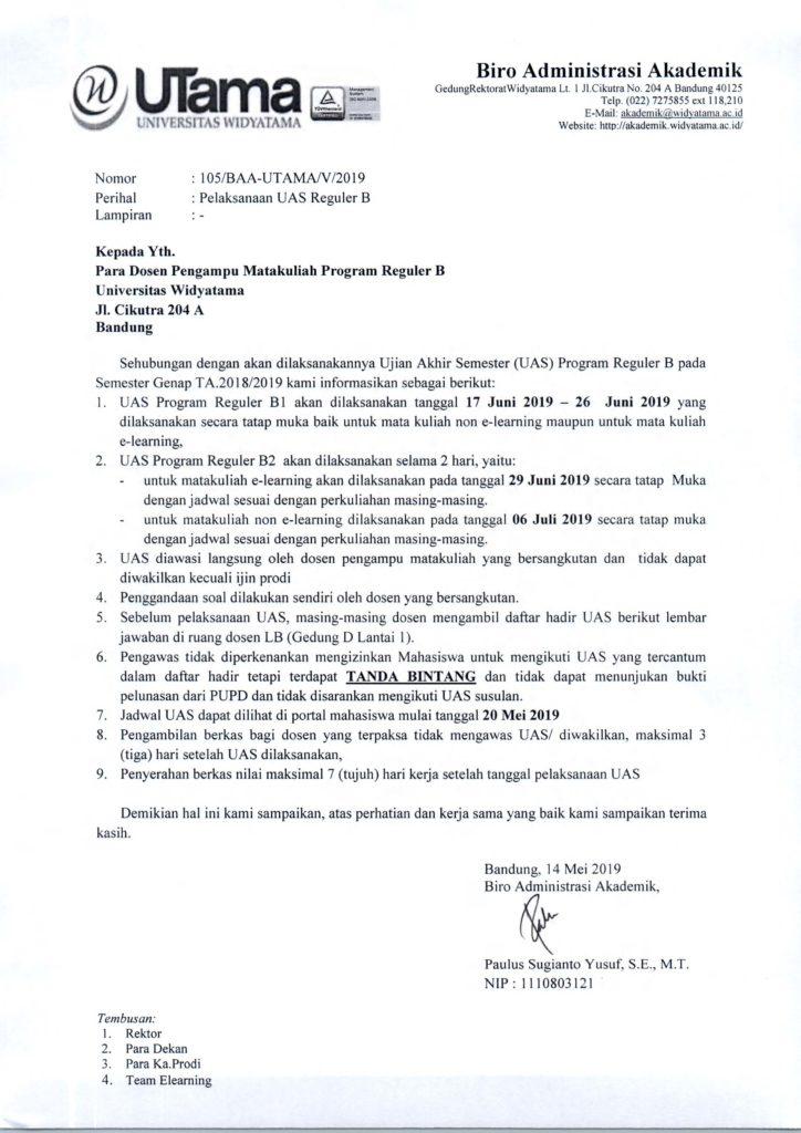 Pelaksanaan UAS Reguler B sem genap TA 1819