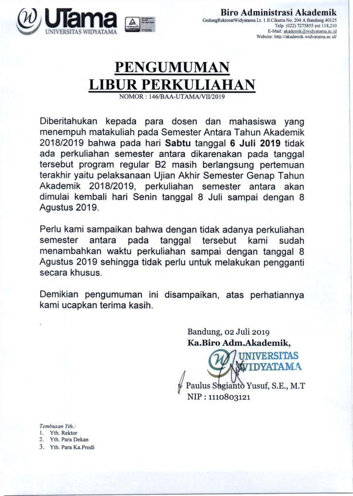 PENGUMUMAN LIBUR PERKULIAHAN SP TA 2018-2019 SABTU TGL 6 JULI 2019
